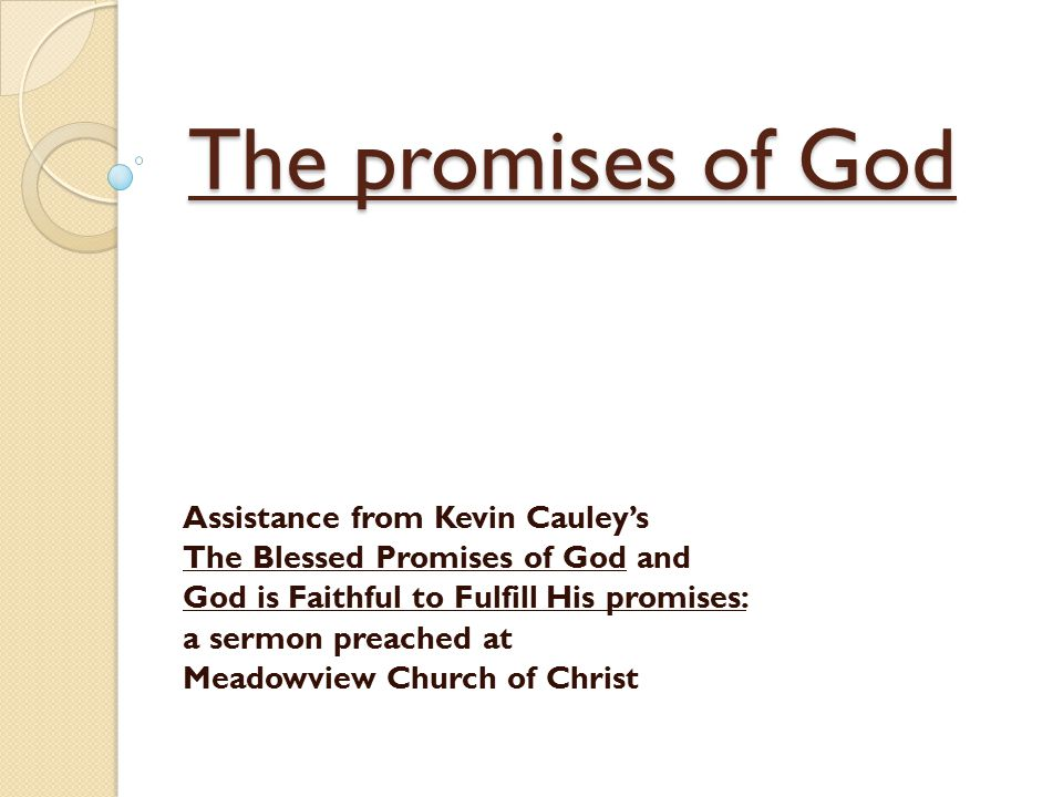 The promises of God Assistance from Kevin Cauley's