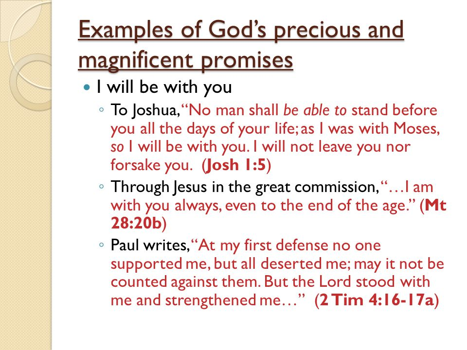 Examples of God's precious and magnificent promises