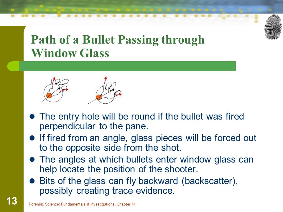 Path of a Bullet Passing through Window Glass