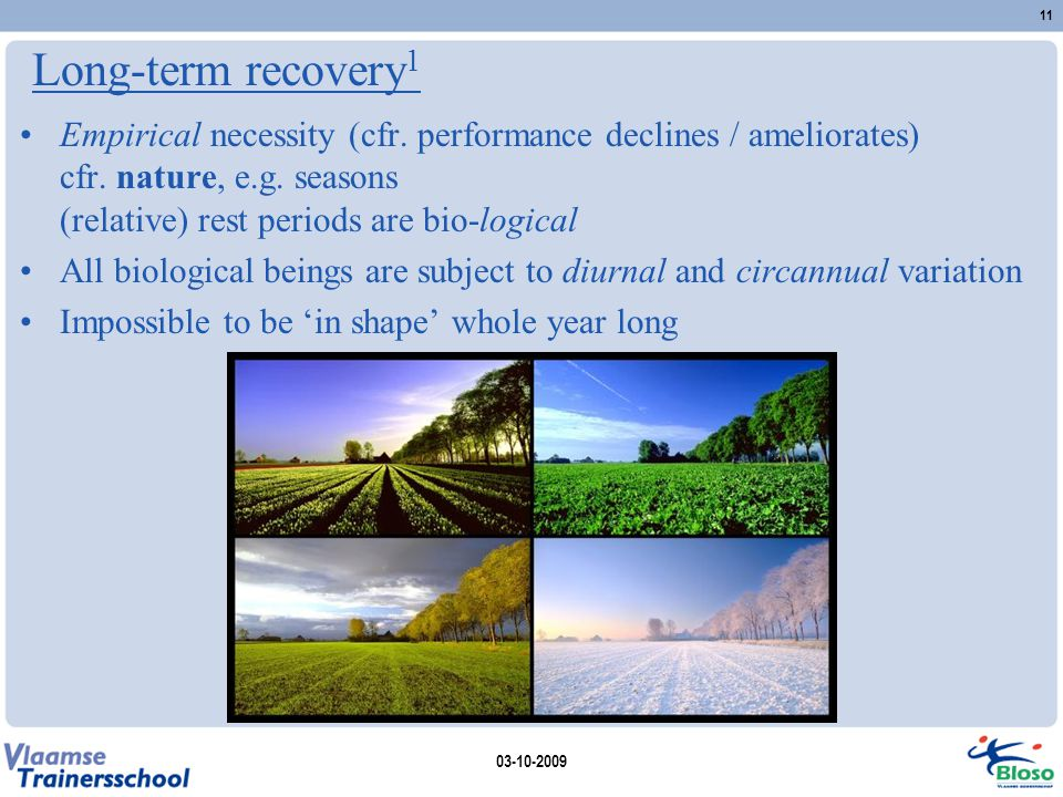 Long-term recovery1 Empirical necessity (cfr. performance declines / ameliorates) cfr. nature, e.g. seasons (relative) rest periods are bio-logical.