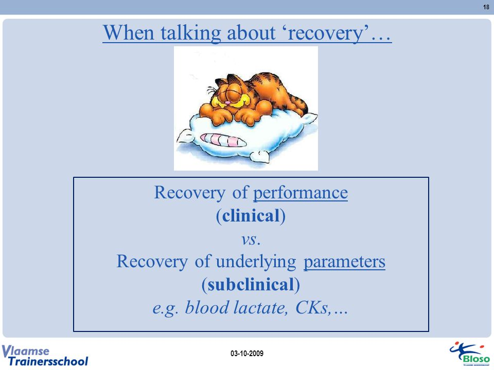 When talking about 'recovery'…