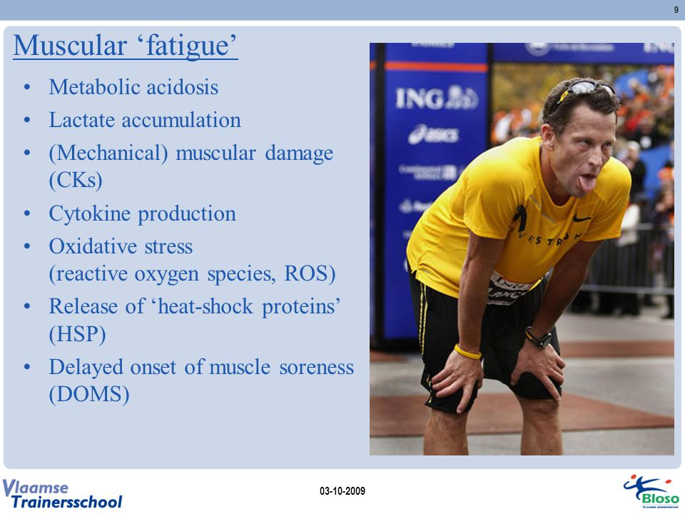 Muscular 'fatigue' Metabolic acidosis Lactate accumulation