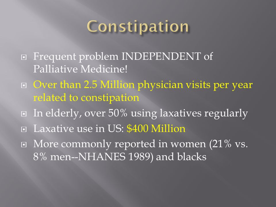 Constipation Frequent problem INDEPENDENT of Palliative Medicine!