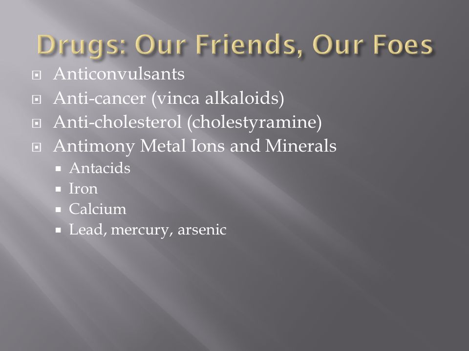 Drugs: Our Friends, Our Foes