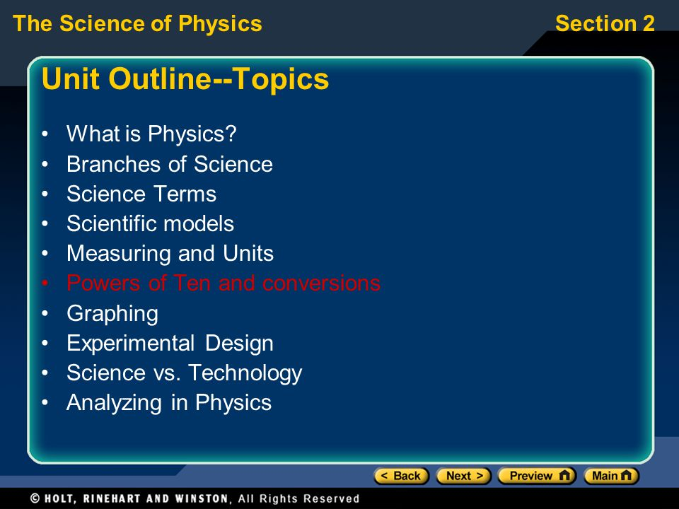 Unit Outline--Topics What is Physics Branches of Science
