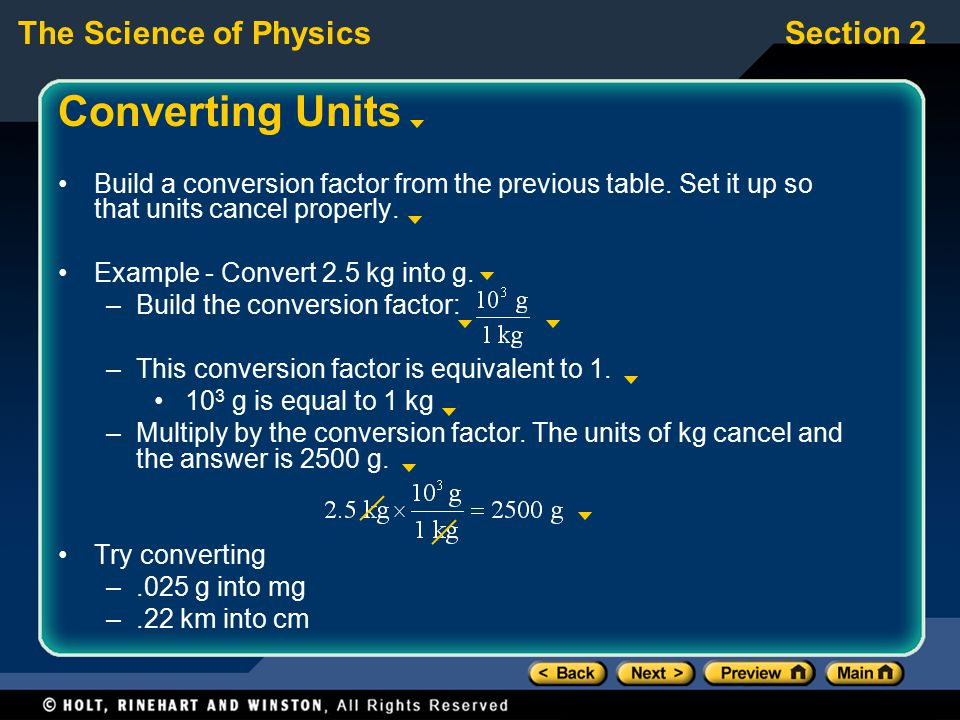Converting Units Build a conversion factor from the previous table. Set it up so that units cancel properly.