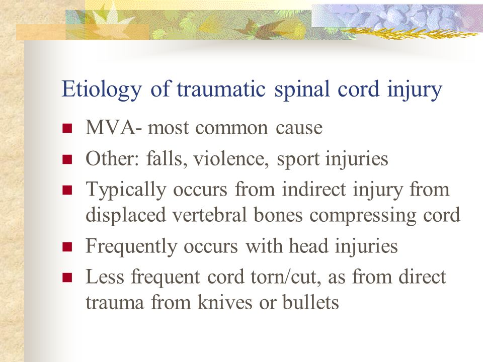 Etiology of traumatic spinal cord injury