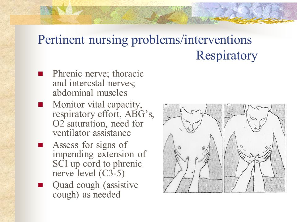 Pertinent nursing problems/interventions Respiratory