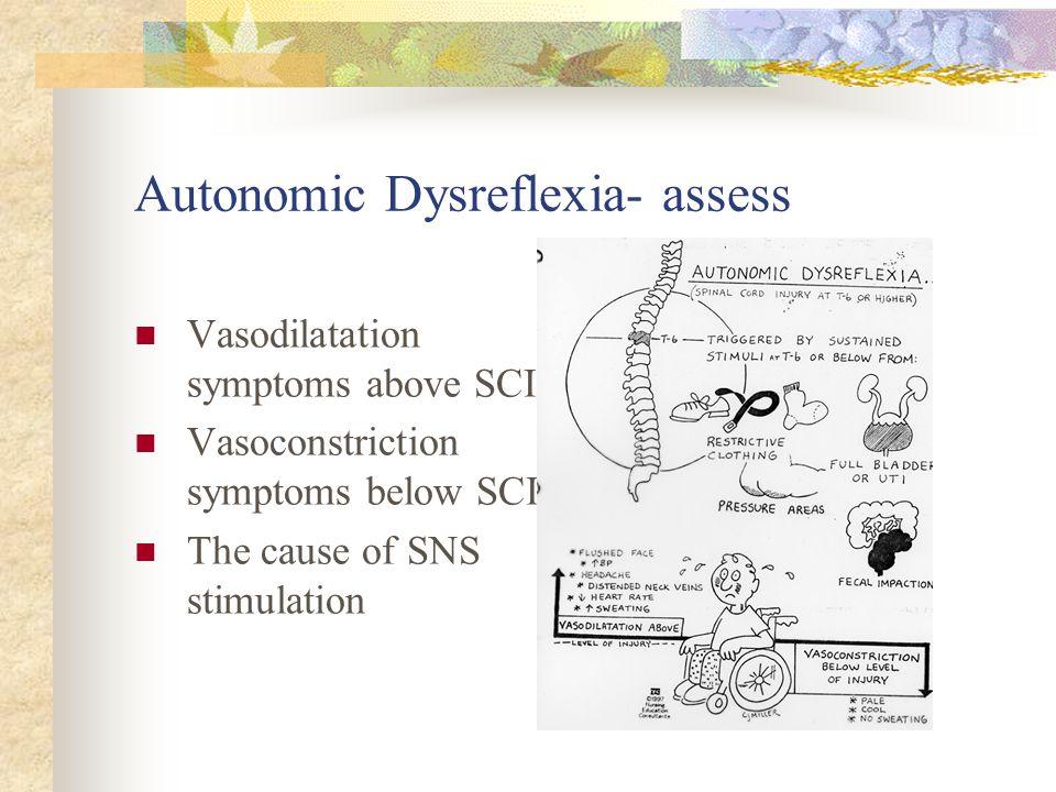 Autonomic Dysreflexia- assess