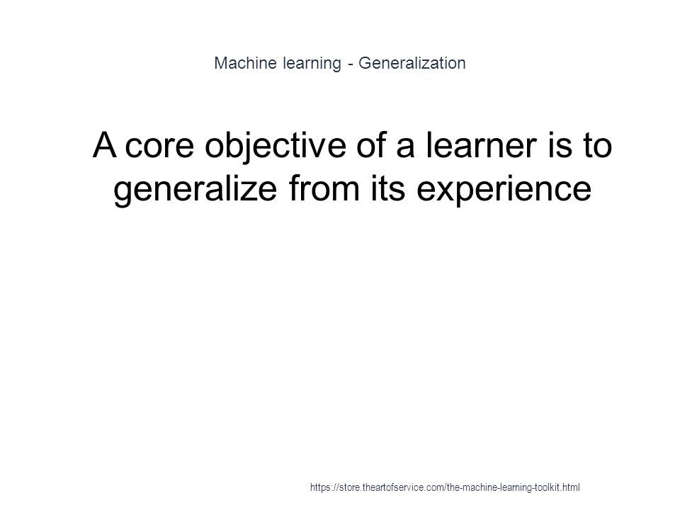 Machine learning - Generalization