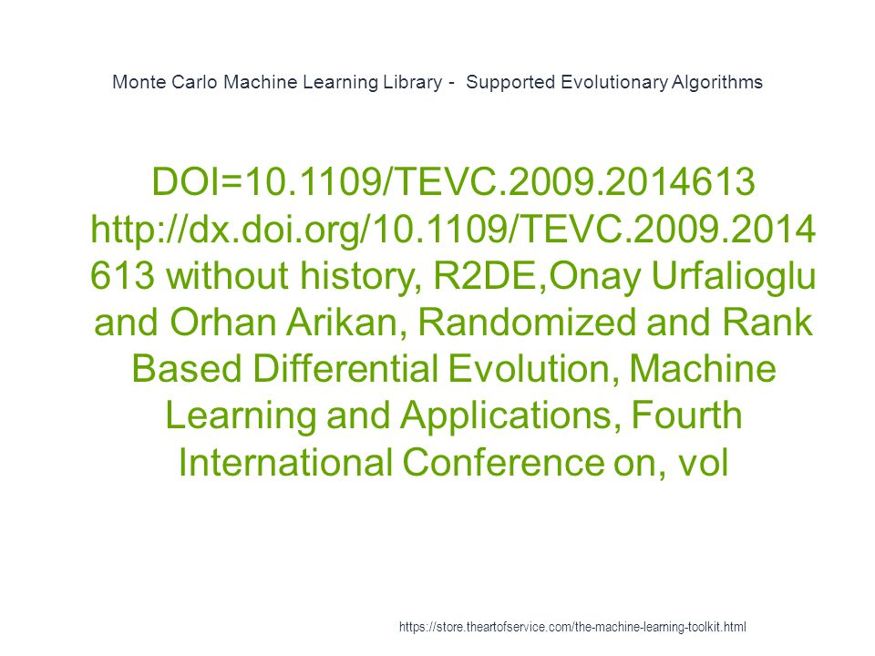 Monte Carlo Machine Learning Library - Supported Evolutionary Algorithms