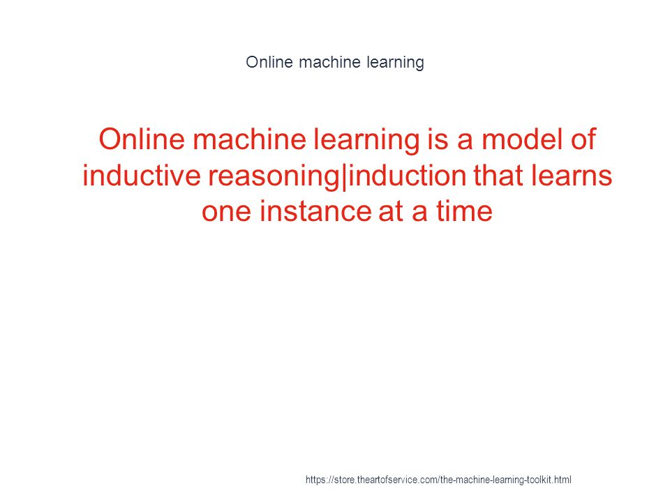 Online machine learning