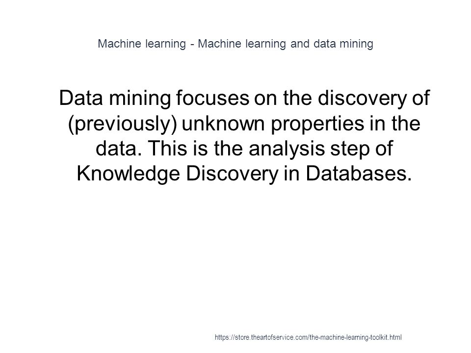 Machine learning - Machine learning and data mining