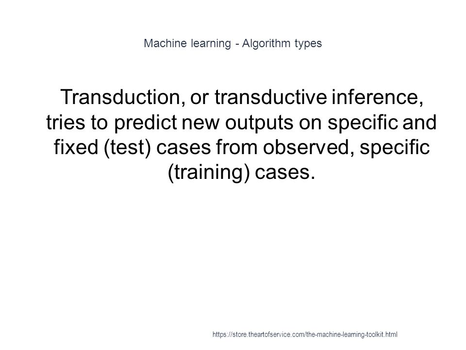 Machine learning - Algorithm types