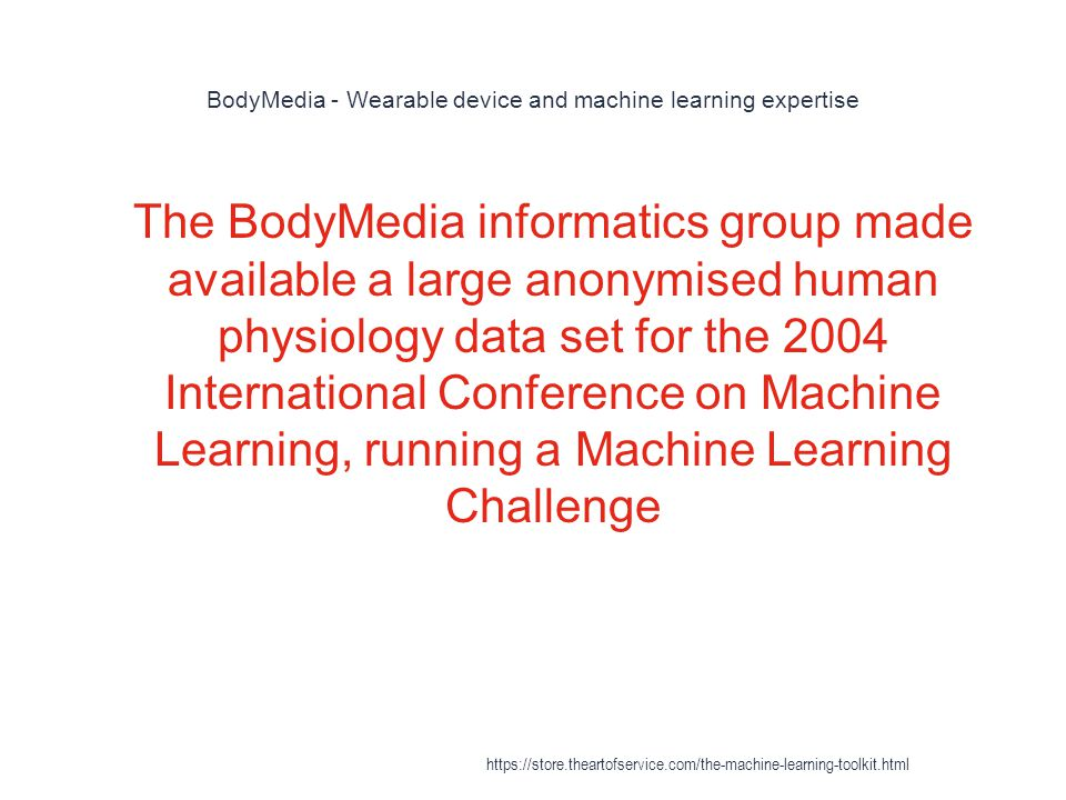 BodyMedia - Wearable device and machine learning expertise