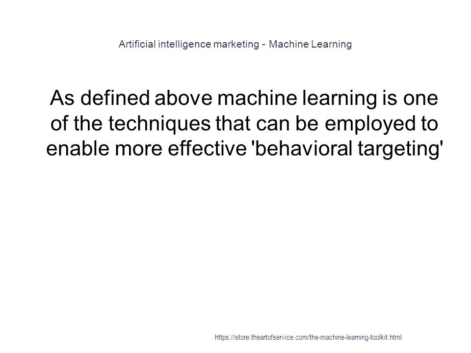 Artificial intelligence marketing - Machine Learning