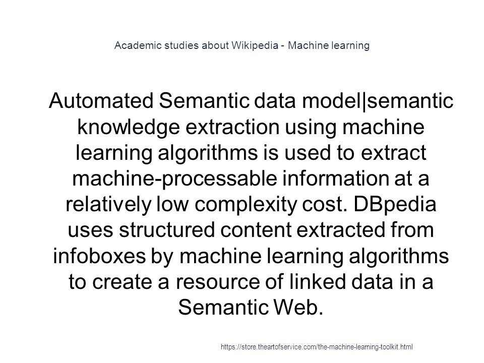 Academic studies about Wikipedia - Machine learning
