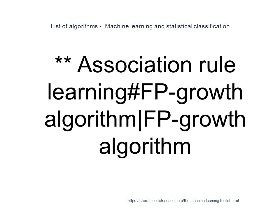 List of algorithms - Machine learning and statistical classification