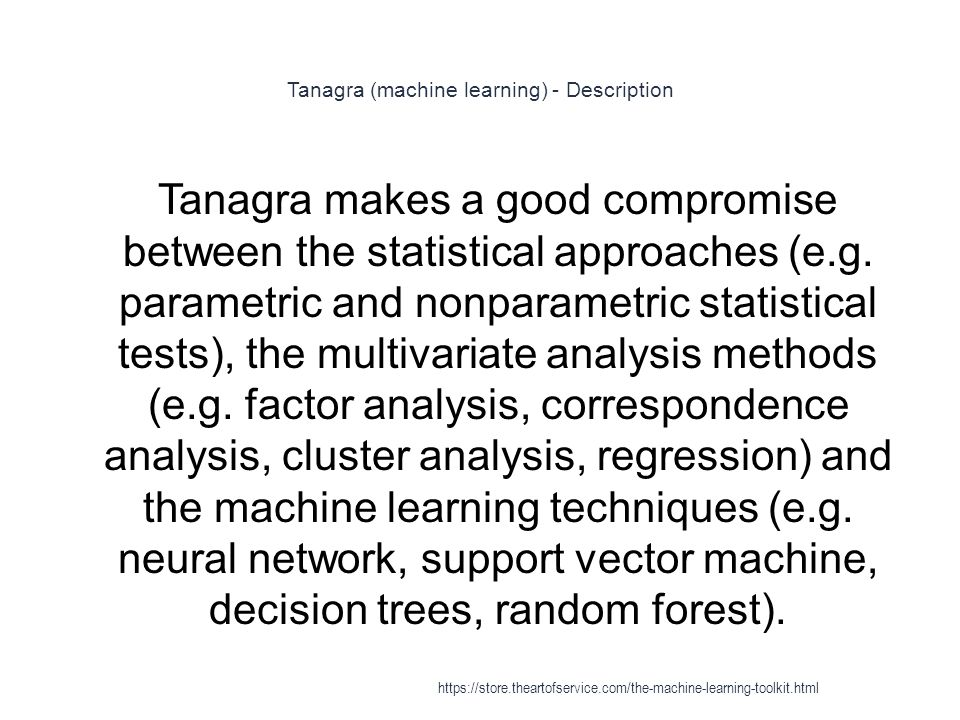 Tanagra (machine learning) - Description