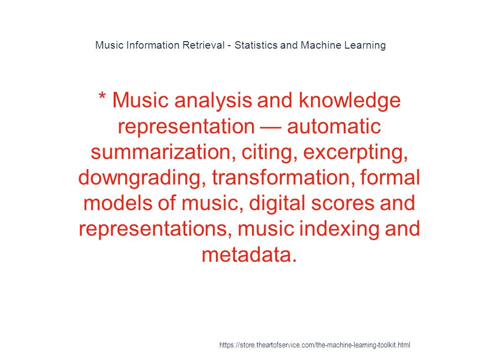 Music Information Retrieval - Statistics and Machine Learning
