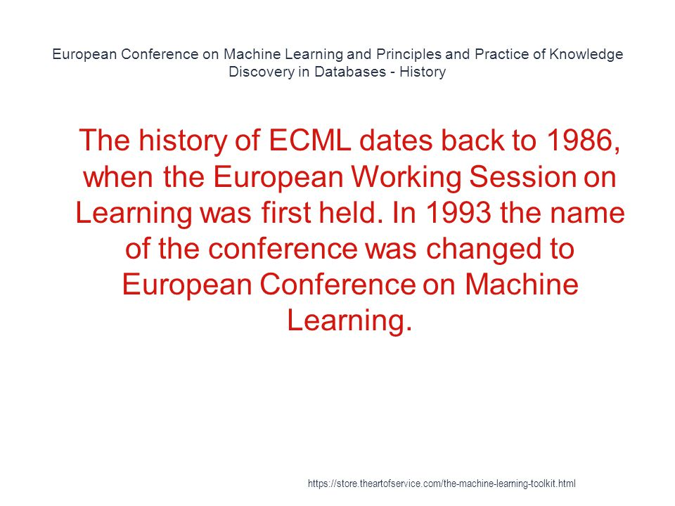 European Conference on Machine Learning and Principles and Practice of Knowledge Discovery in Databases - History