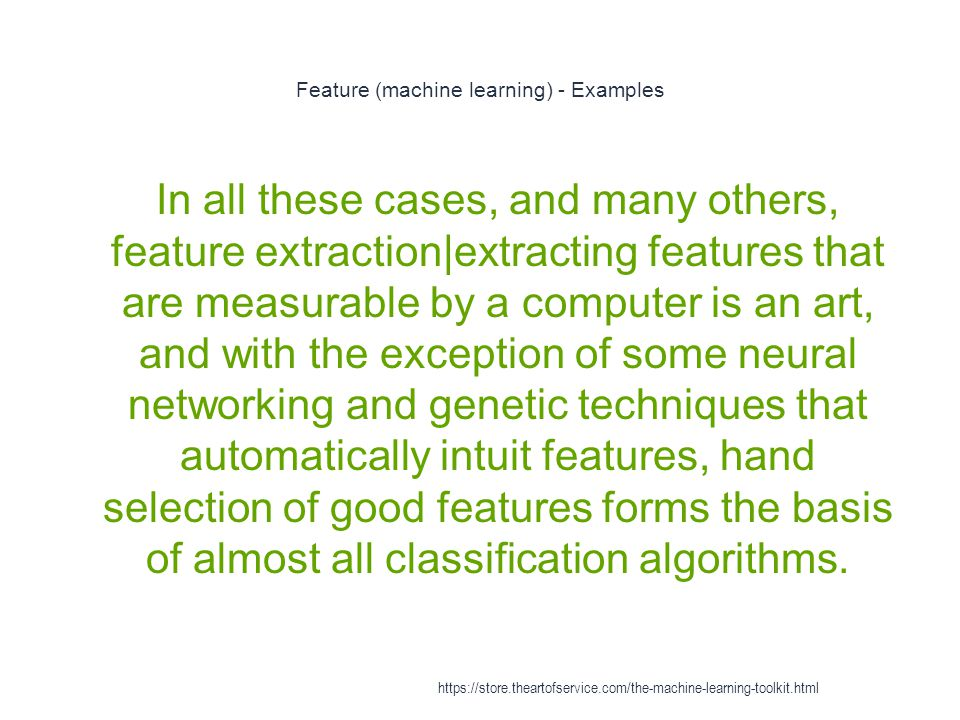 Feature (machine learning) - Examples