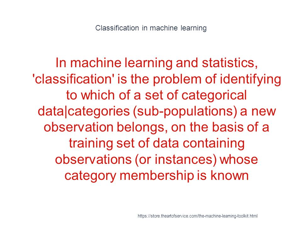 Classification in machine learning