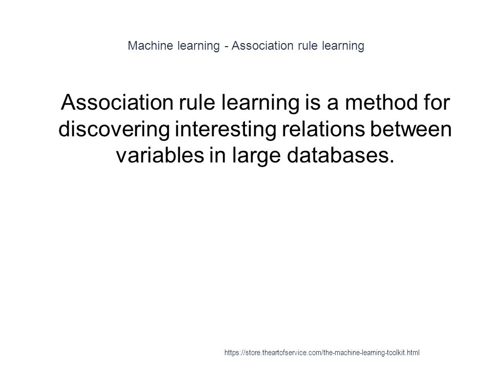 Machine learning - Association rule learning