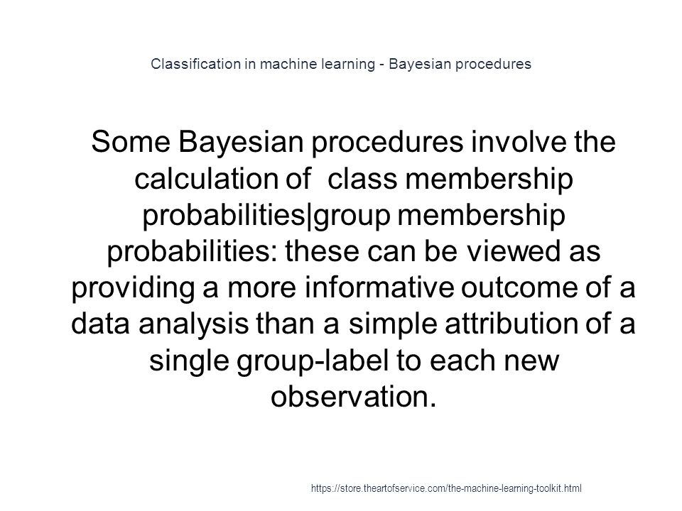Classification in machine learning - Bayesian procedures