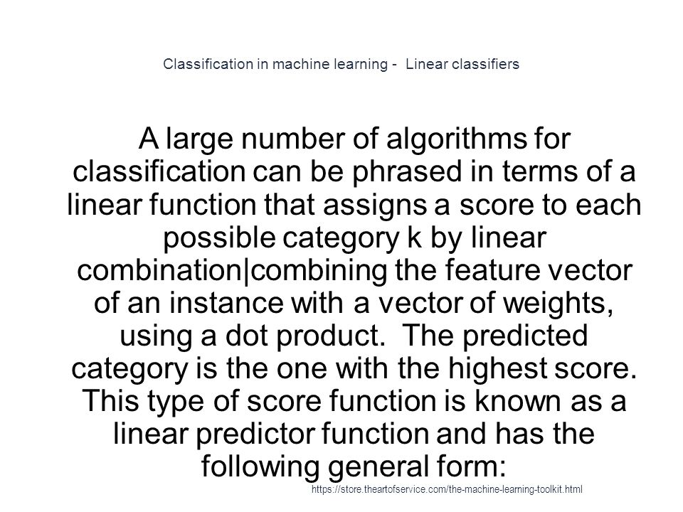 Classification in machine learning - Linear classifiers