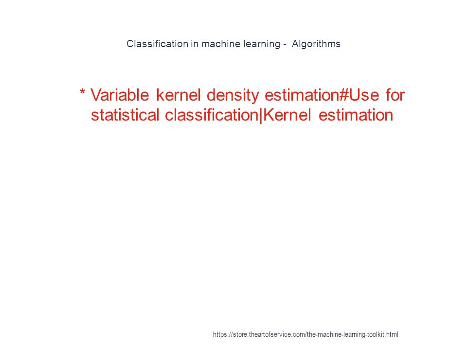 Classification in machine learning - Algorithms