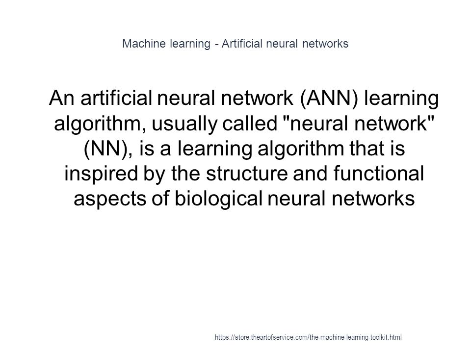 Machine learning - Artificial neural networks