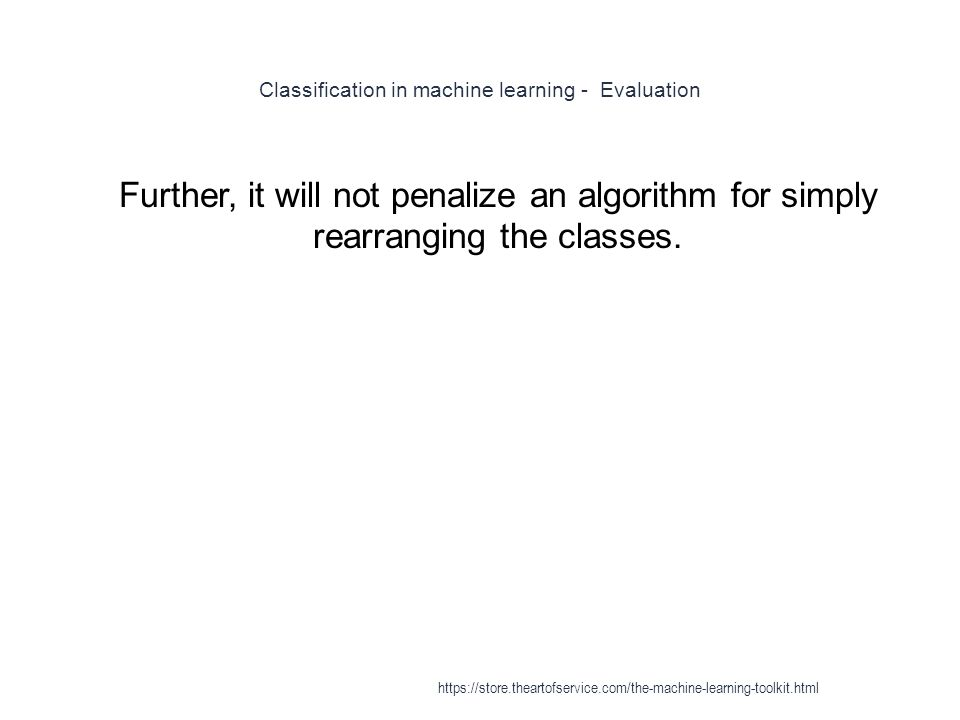 Classification in machine learning - Evaluation