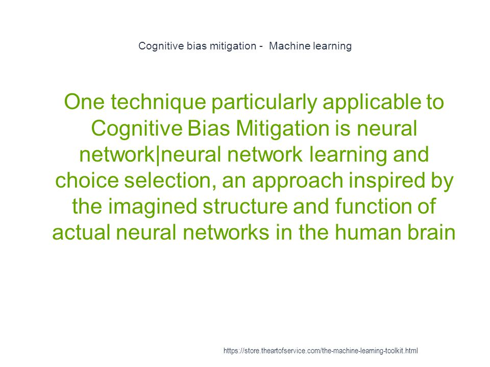 Cognitive bias mitigation - Machine learning