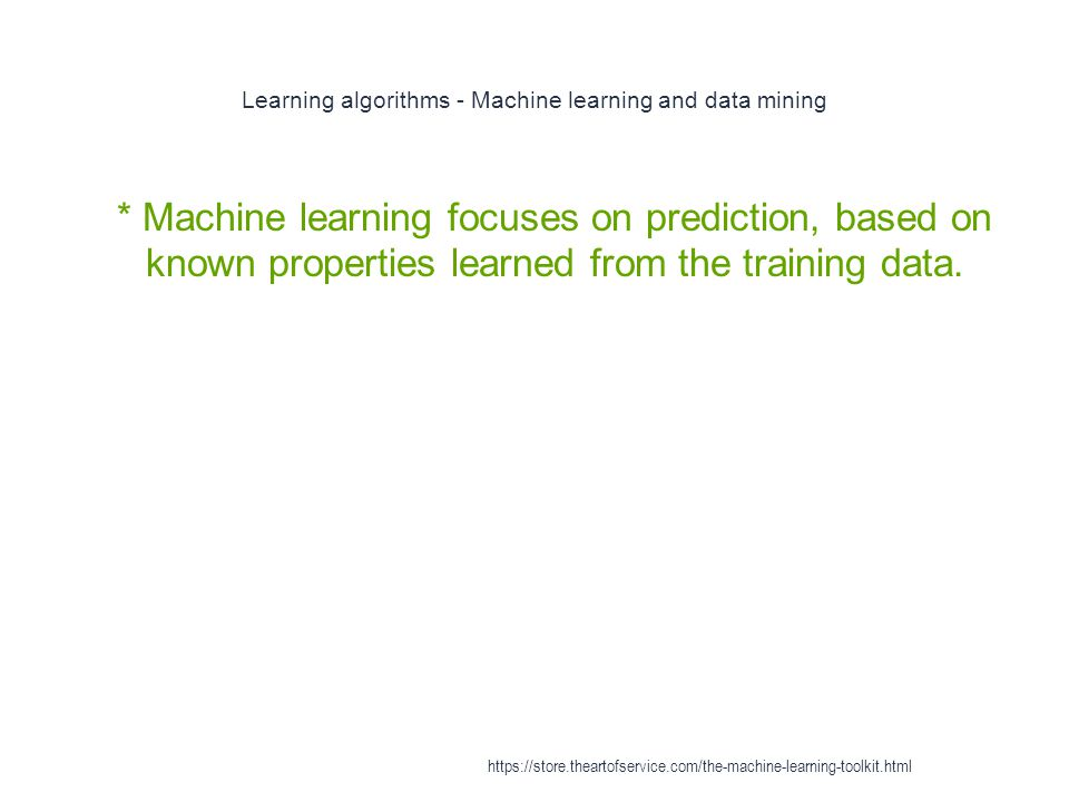 Learning algorithms - Machine learning and data mining
