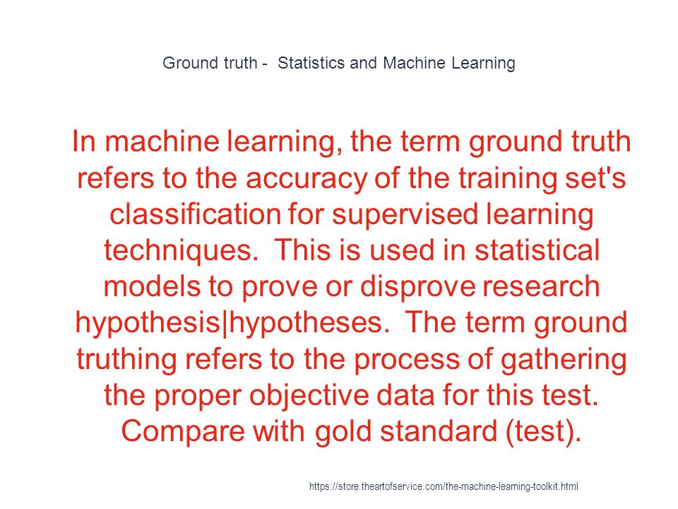 Ground truth - Statistics and Machine Learning