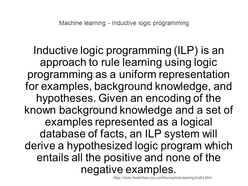 Machine learning - Inductive logic programming