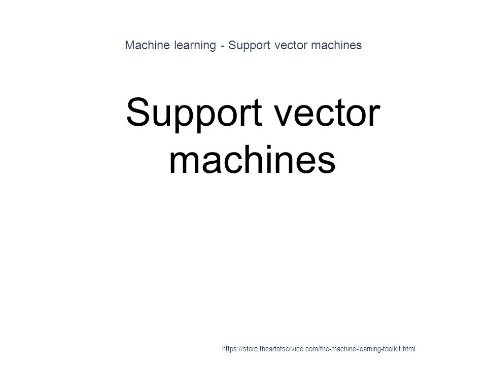 Machine learning - Support vector machines