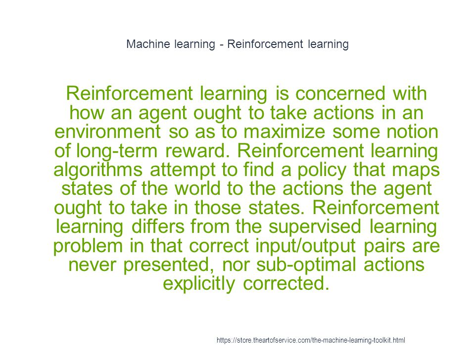 Machine learning - Reinforcement learning
