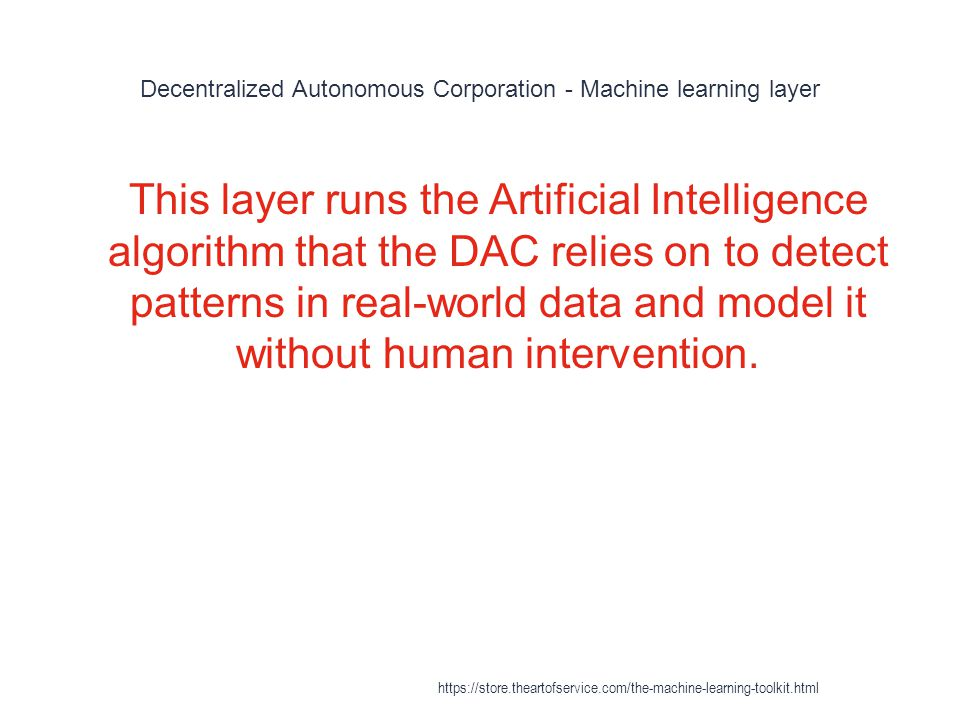Decentralized Autonomous Corporation - Machine learning layer