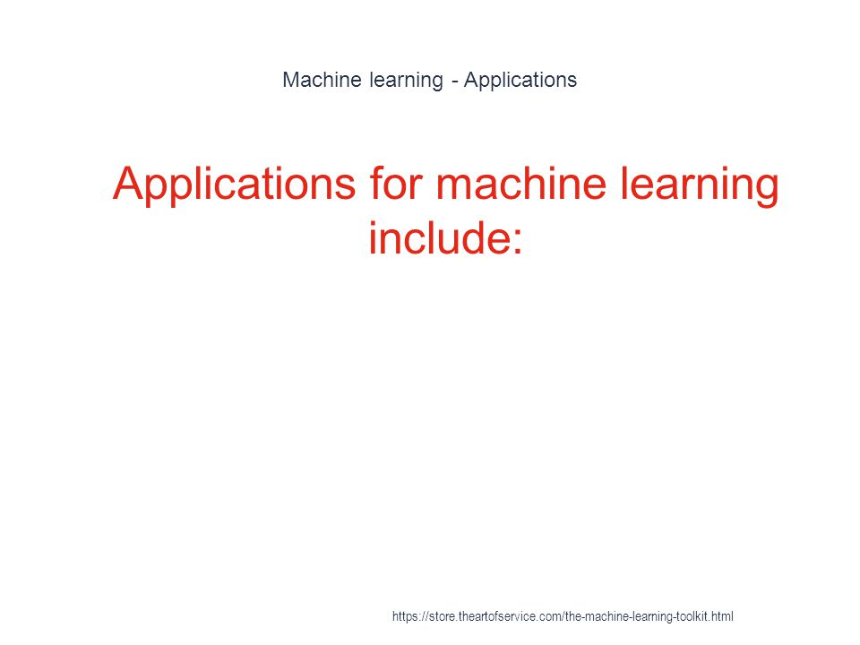 Machine learning - Applications
