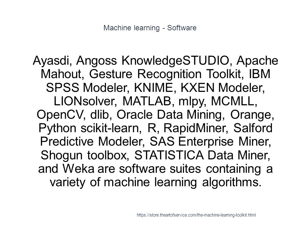 Machine learning - Software