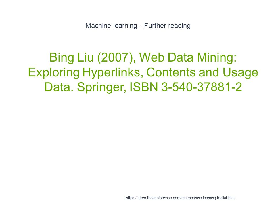 Machine learning - Further reading