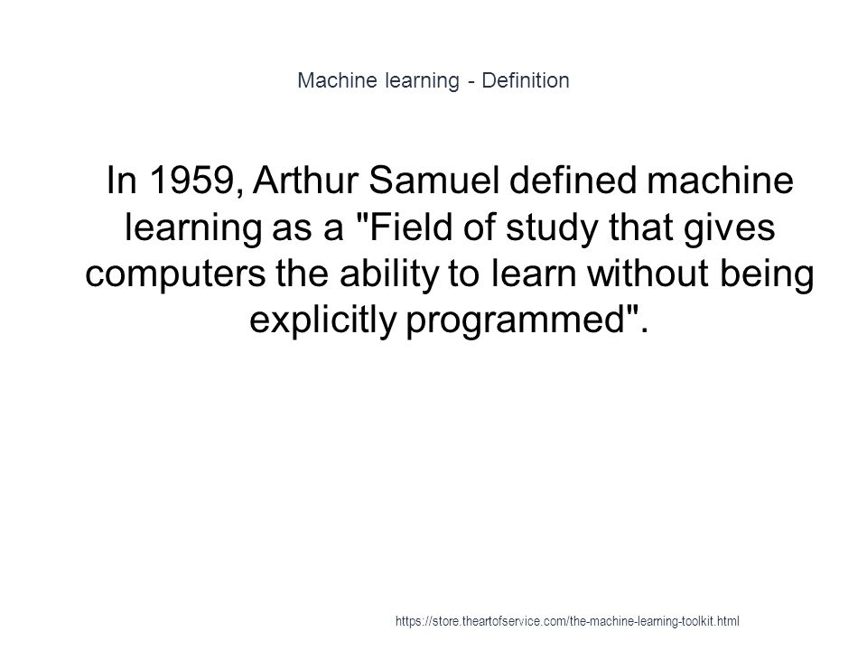 Machine learning - Definition