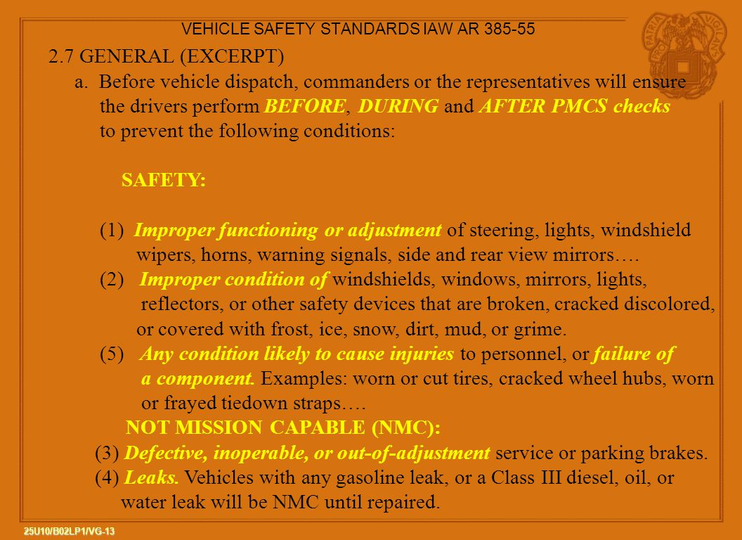 VEHICLE SAFETY STANDARDS IAW AR 385-55