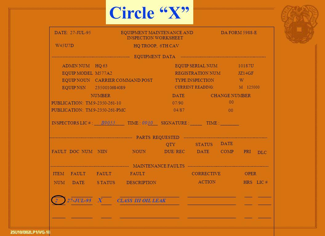 Circle X B9055 0930 2 27-JUL-95 X CLASS III OIL LEAK DATE: 27-JUL-95