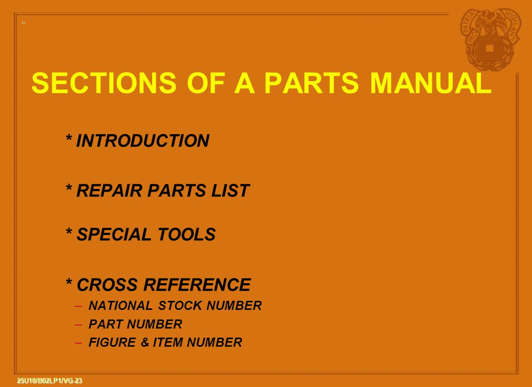 SECTIONS OF A PARTS MANUAL