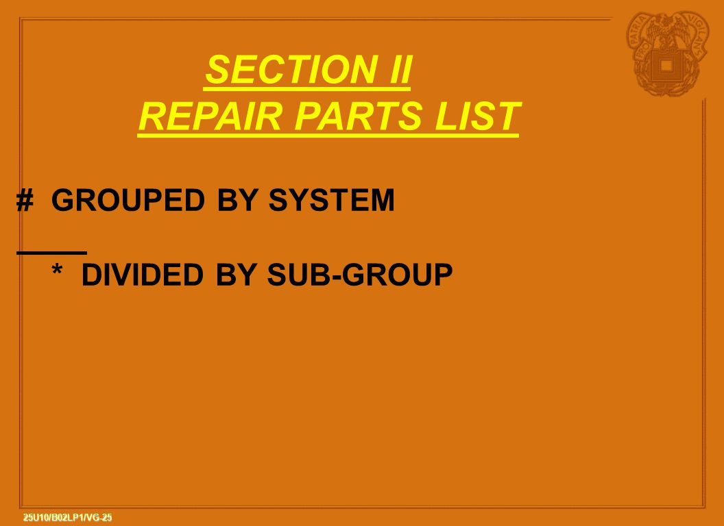 SECTION II REPAIR PARTS LIST # GROUPED BY SYSTEM