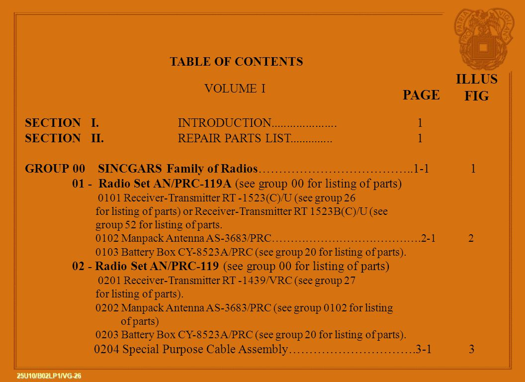 ILLUS FIG PAGE TABLE OF CONTENTS VOLUME I