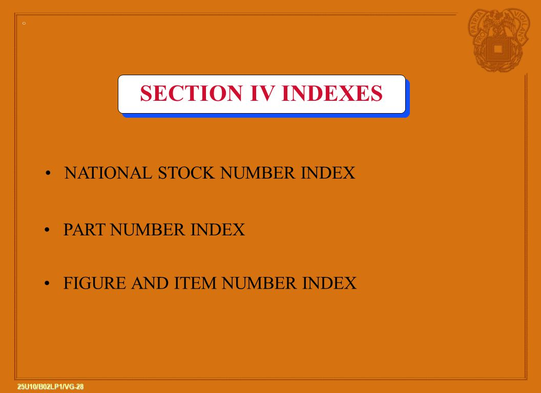 SECTION IV INDEXES NATIONAL STOCK NUMBER INDEX PART NUMBER INDEX